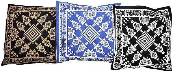Lot of Three Cushion Covers with Printed Folk Figures