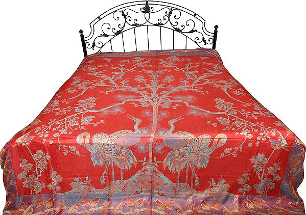 Mineral-Red Reversible Jamawar Bedspread with Woven Tree of Life