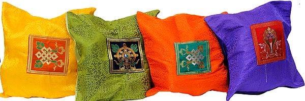 Lot of Four Ashtamangla Patch Cushion Covers from Banaras