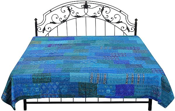 Brilliant-Blue Bedspread from Gujarat with Printed Floral Patch Work and Kantha Stitch