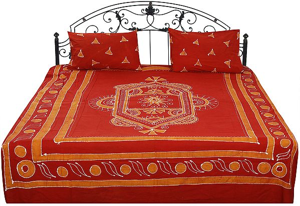 Picante-Brown Batik Bedspread with Printed Triangles and Motifs