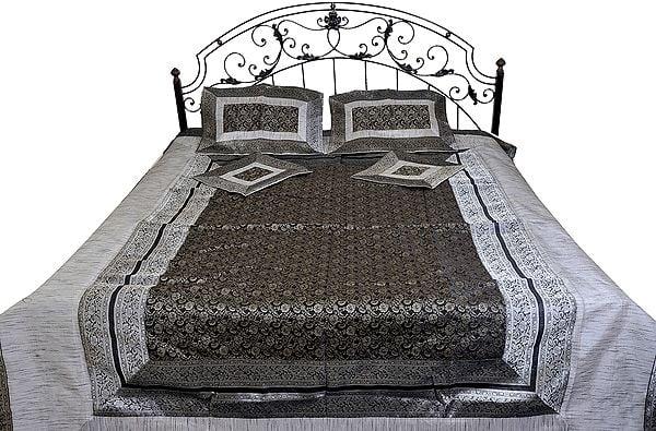 Five-Piece Banarasi Bedspread with Woven Paisleys and Brocaded Border