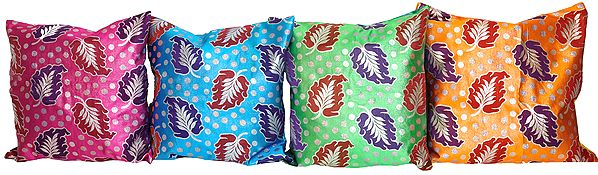 Lot of Four Brocaded Cushion Covers with Woven Leaves