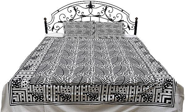 Bedspread from Pilkhuwa with Block Printed Leaves