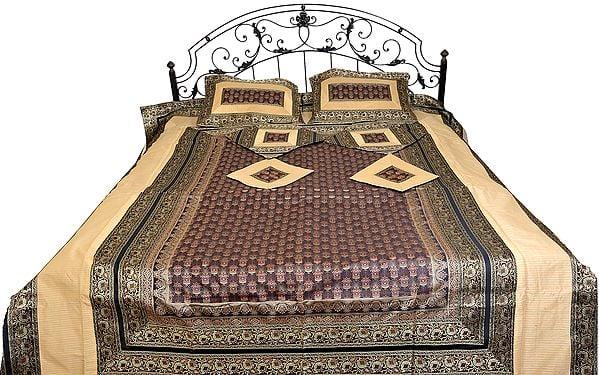 Seven-Piece Banarasi Bedspread with Woven Kalash and Brocaded Border