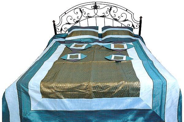 Seven-Piece Bedspread from Banaras with Brocade Weave