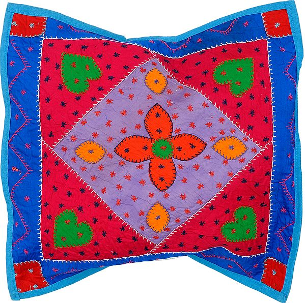 Cushion Cover with Applique Hearts and Kantha Embroidery