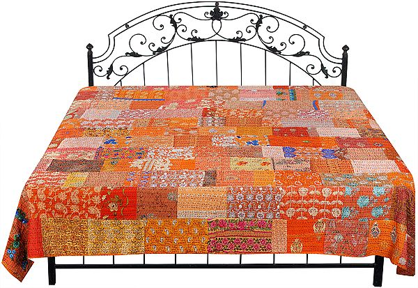 Autumn-Glory Kantha Embroidered Bedspread Embellished with Crystals and Floral Patch Work