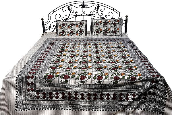 Egret-White Floral Printed Bedspread from Pilkhuwa with Stripes