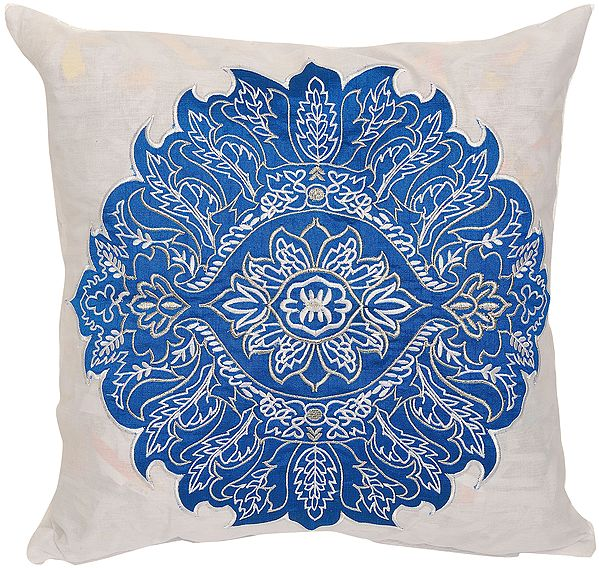 Bright-White Cushion Cover with Large Embroidered Floral Patch