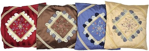 Lot of Four Cushion Cover with Floral Embroidery and Lace