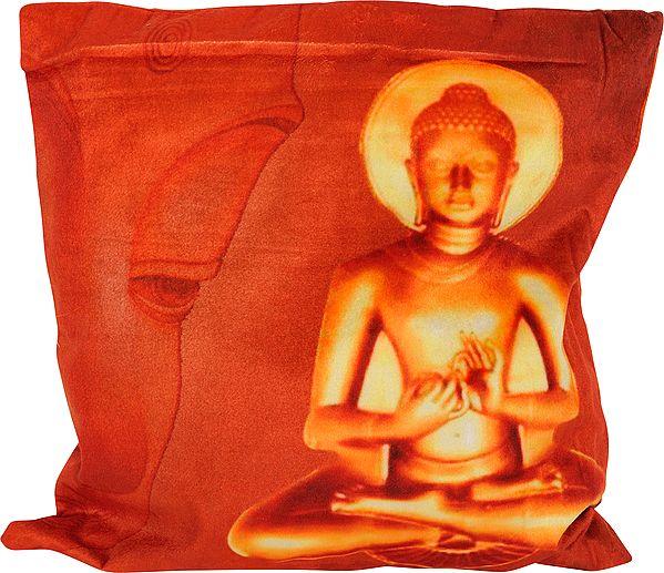 Orange-Rust Digital Printed Lord Buddha Cushion Cover from Gujarat