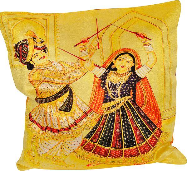 Yellow-Cream Dandia Digital Printed Cushion Cover from Gujarat