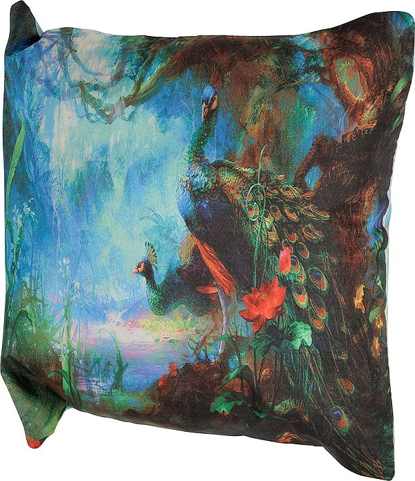 Blue and Green Peacock Digital-Printed Cushion Cover from Gujarat