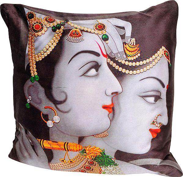 Radha Krishna Digital-Printed Cushion Cover from Gujarat