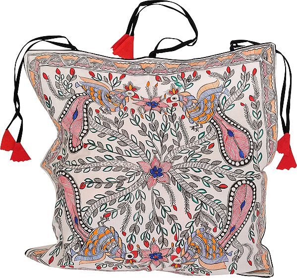 Snow-White Cushion Cover with Madhubani Hand-Painted Peacocks