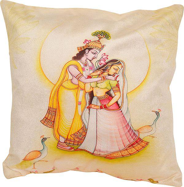 Ivory Radha Krishna Digital-Printed Cushion Cover from Gujarat