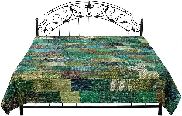 Medium-Green Bedspread from Gujarat with Printed Patch Work and Kantha Stitch