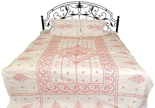 Egret-White Bedspread from Lucknow with Chikan Embroidery by Hand