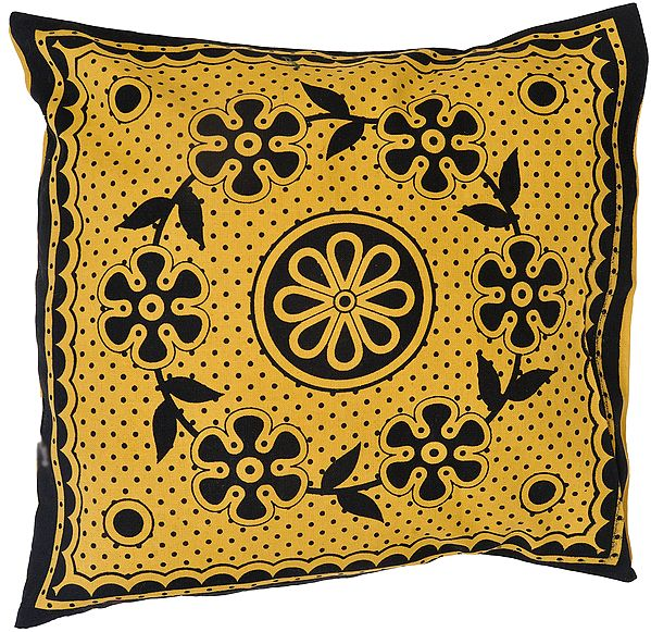 Fall-Leaf Cushion Cover from Pilkhuwa with Printed Flowers