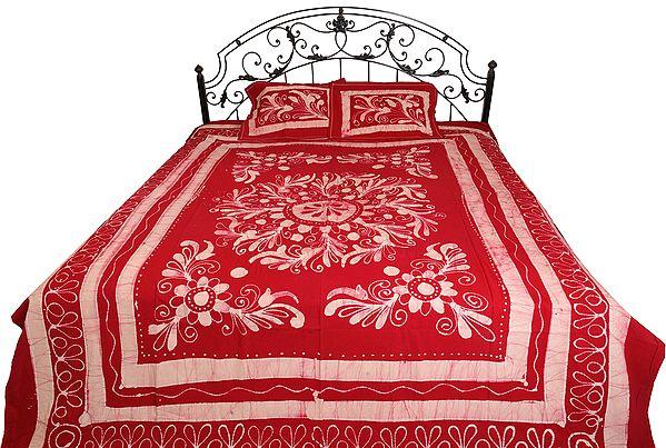 Jester-Red Floral Printed Batik-Dyed Bedsheet
