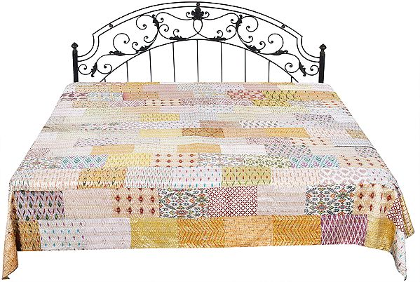 Bedspread from Jodhpur with Assorted Patch Work and Kantha Straight Stitch