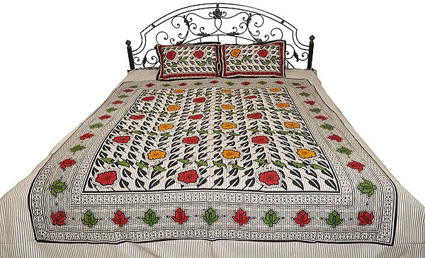 Ivory and Gray Striped Bedsheet from Pilkhuwa with Foliage Print