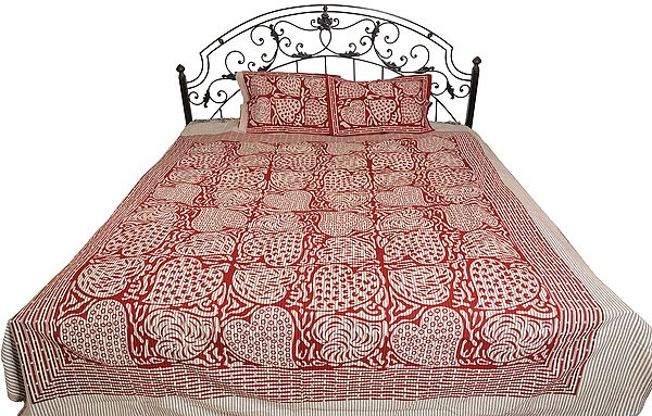 Rooswood-Red Striped Bedsheet from Pilkhuwa with Printed Leaves