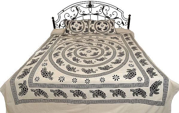 White and Black Vastu Bedsheet with Printed Mandala of Tortoises