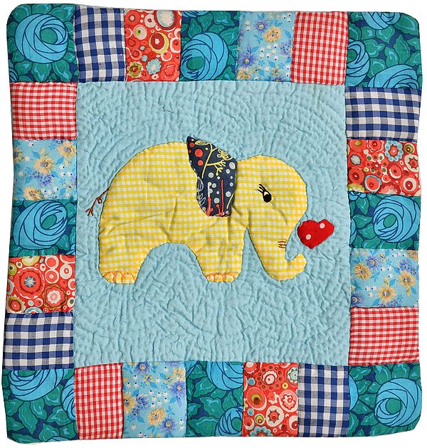 Light-Blue Printed Patchwork Cushion Cover from Dehradun with Kantha Stitch Embroidery and Applique Elephant