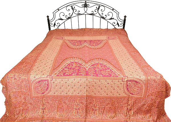 Wild-Aster Reversible Jamawar Bedspread with Mughal Weave