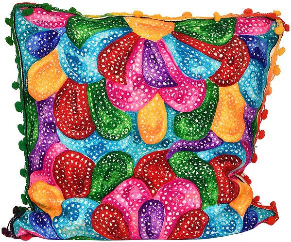 Muticolored Ari-Embroidered Cushion Cover
