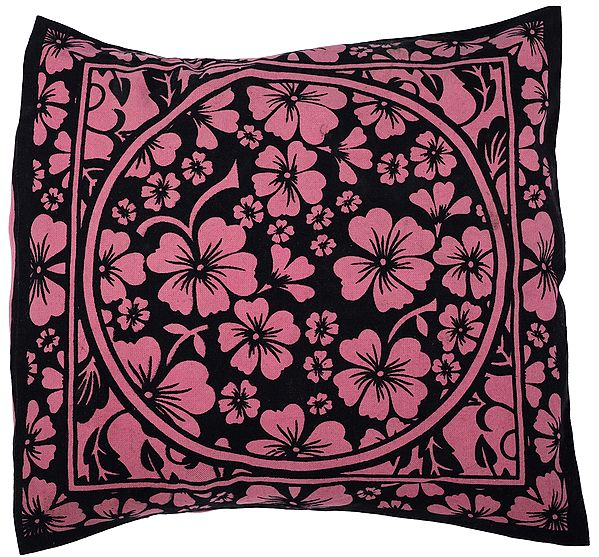 Pink-Carnation Cushion Cover from Pilkhuwa with Printed Flowers