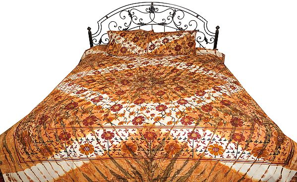 Brown Batik Dyed Bedspread from Pilkhuwa with Printed Sunflowers