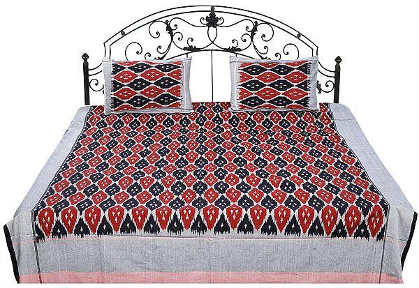 Ikat Handloom Bedspread from Pochampally with Pattern Weave in Multicolor Thread