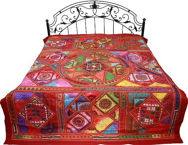 Flames-Scarlet Bedspread from Gujarat with Embroidered Bootis and Mirrors All Over