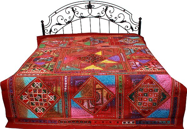 Deep-Claret Bedspread from Gujarat with Embroidered Kutch Patches and Mirrors