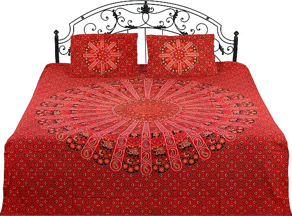 Bedspread from Jaipur with Printed Elephants and Floral Bootis All-Over