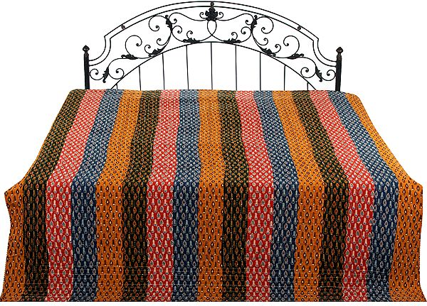Multi-Color Printed Reversible Rainbow Bedspread with Patchwork and Kantha Stitch Embroidery All-Over