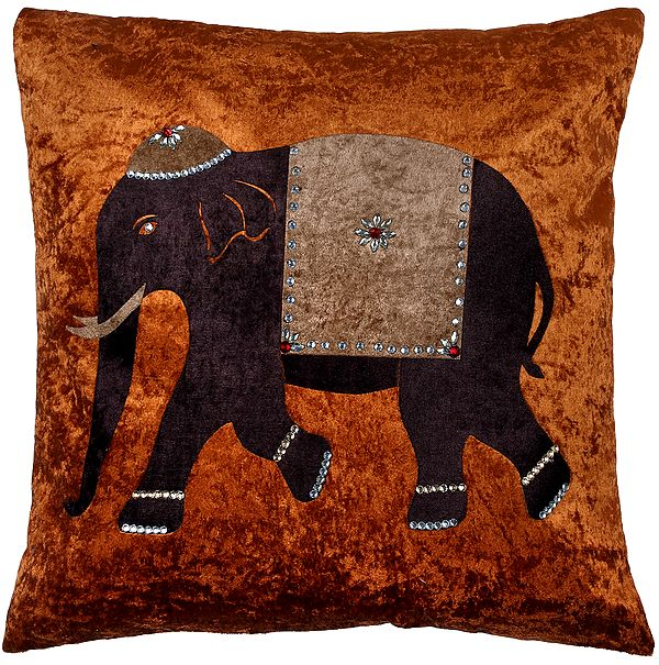 Cushion Cover with Applique Elephant and Embellished Crystals and Stones