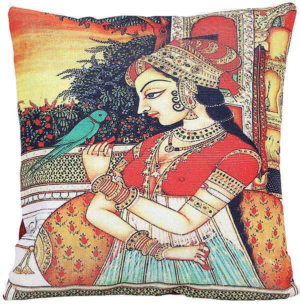 Ribbon-Red Cushion Cover with Digital-Printed Mughal Princess