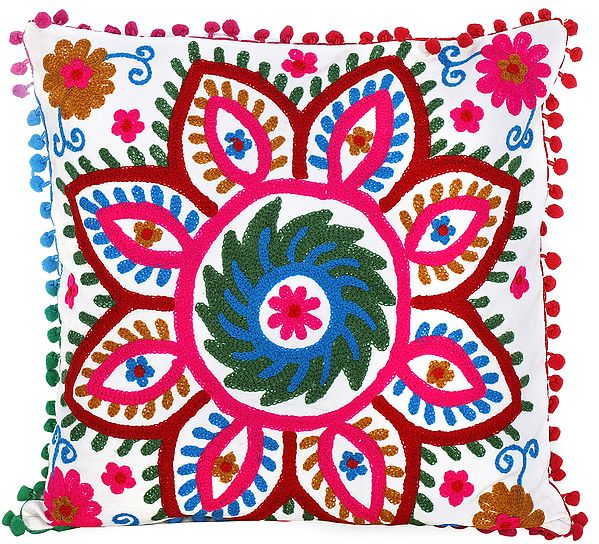 Lily-White Cushion Cover with Giant Multicolor Ari-Embroidered Flower