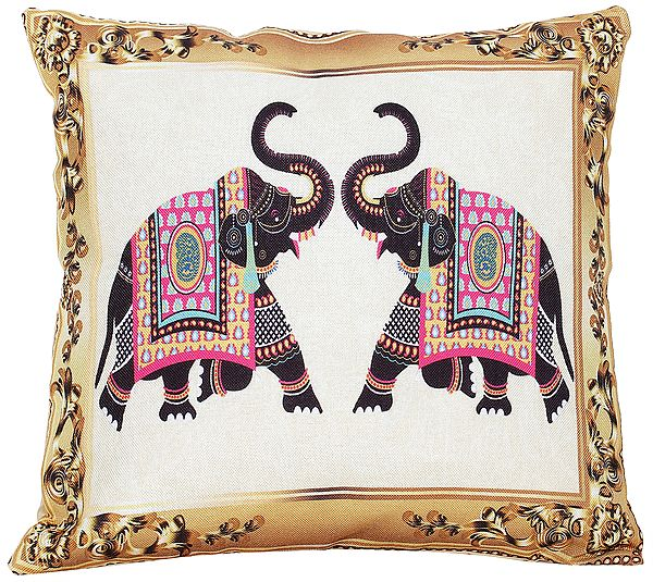 Golden-Yellow Cushion Cover with Digital-Printed Elephants