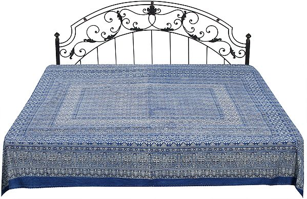 Copen-Blue Bedcover from Sanganer with Bagdoo Block-Print and Kantha Stitch All-Over