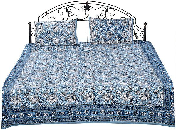 Smoke-Blue Sanganeri Bedspread with Printed Floral Vines