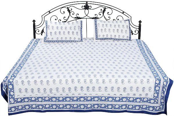 Snow-White Sanganeri Bedspread with Printed Paisleys