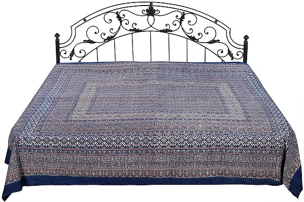 Blue-Indigo Floral Printed Bedcover from Jaipur with Kantha Straight Stitch Embroidery