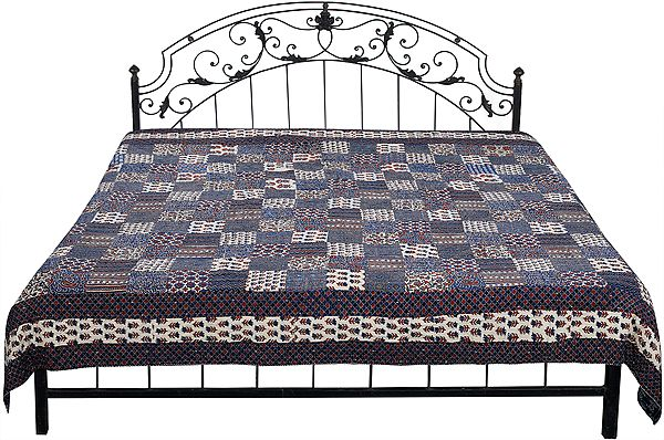 Design-Blue Printed Reversible Bedspread from Jaipur with Patchwork and Kantha Stitch Embroidery