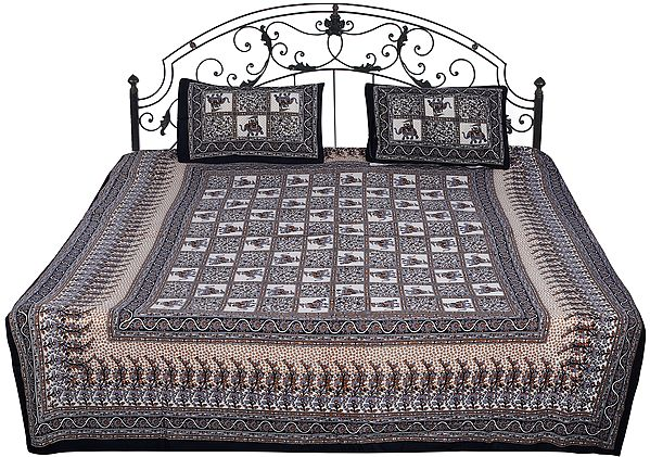 Ivory Bedspread from Hawa Mahal with Printed Mahout on Elephant