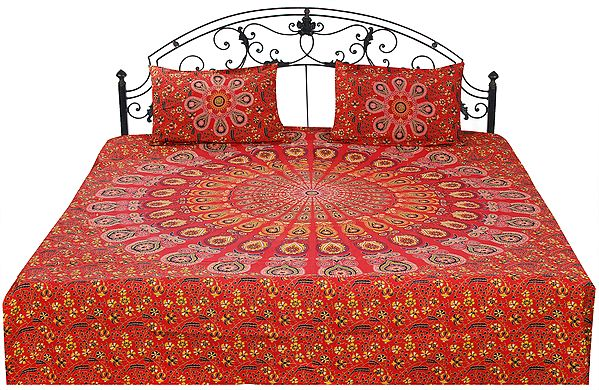 Bittersweet-Red Bedspread from Jaipur with Printed Giant Mandala
